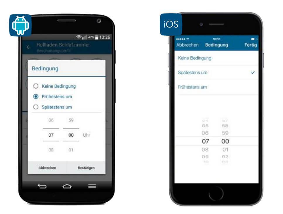 Screenshot App: Beschattungsprofil 2