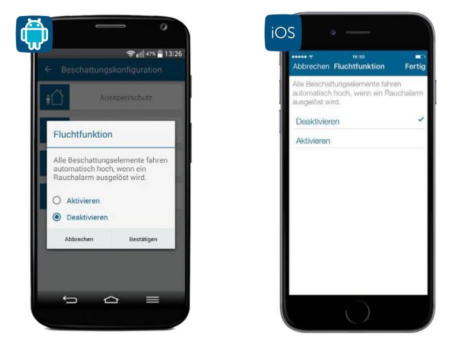 Screenshot App: Fluchtfunktion