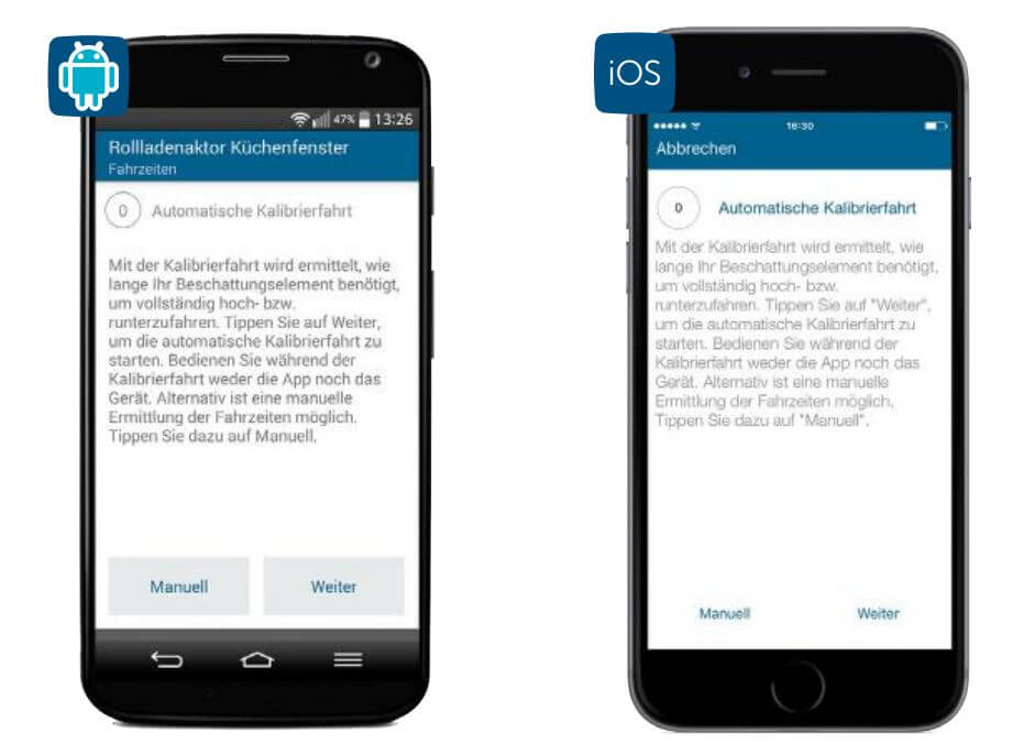 Screenshot App: Kalibrierfahrt
