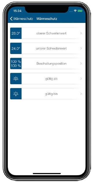 Screenshot App: Wärmeschutz