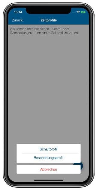 Screenshot App: Beschattungsprofil