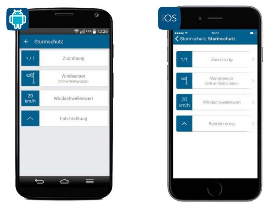 Screenshot App: Sturmschutz