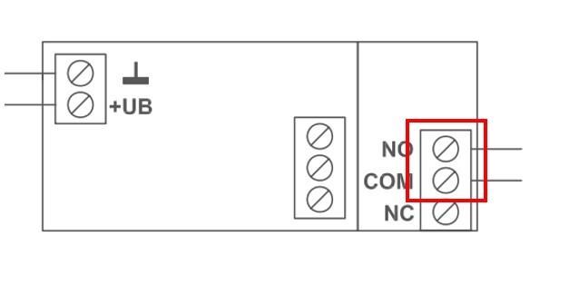 Installation Garagentorantrieb Schaltung NO und COM