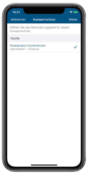 Screenshot Aussperrschutz