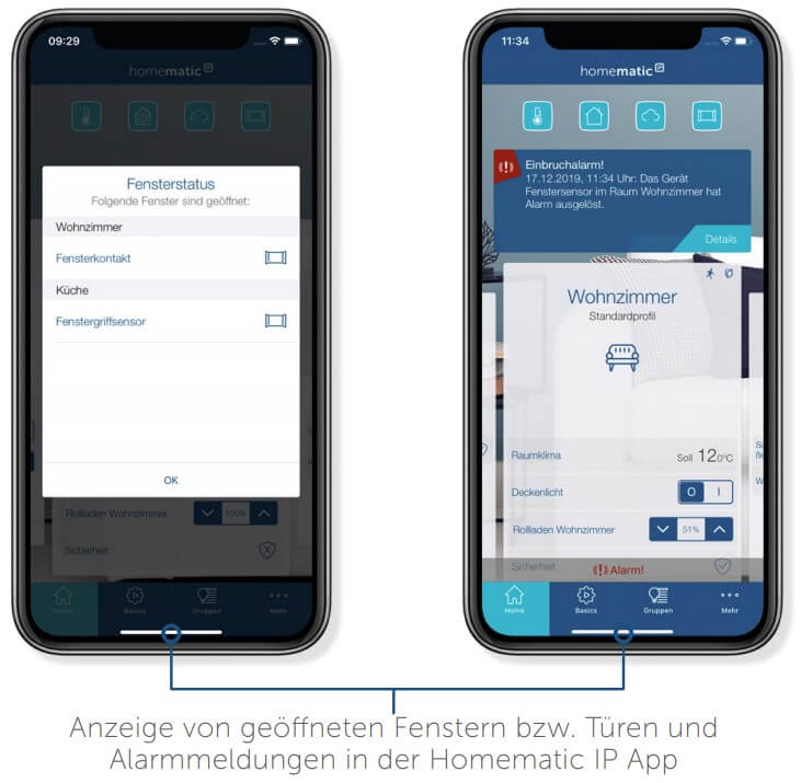 Tür-Fensterkontakt - App, Alarm