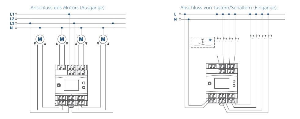 Schaltbild Jalousie- Rolladenaktor - Hutschienenmontage