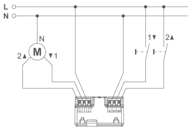 Schaltbild Rolladenaktor - Unterputz
