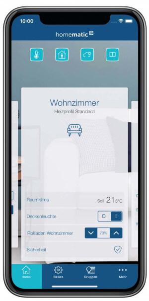 Homematic IP App - Screenshot Kachelansicht