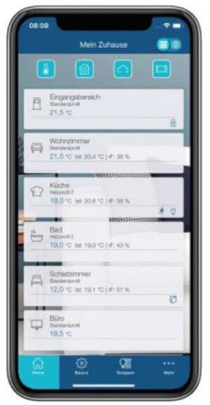 Homematic IP App - Screenshot Listenansicht