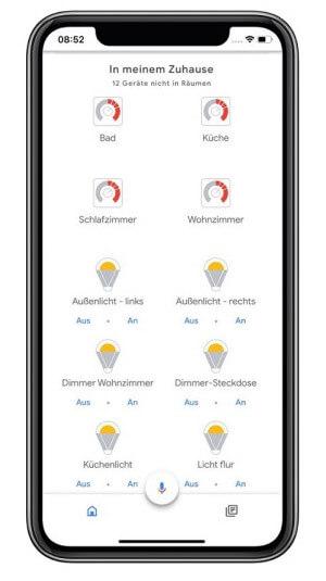 Google Home Geräteübersicht